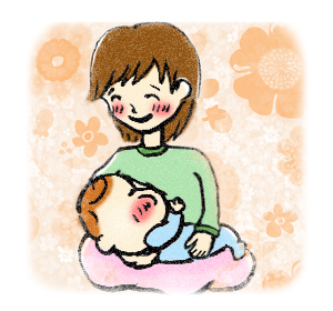 息子に母乳を飲ませるママ