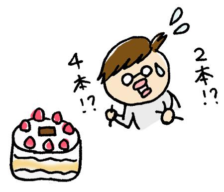 ケーキのローソクで悩むお母さん