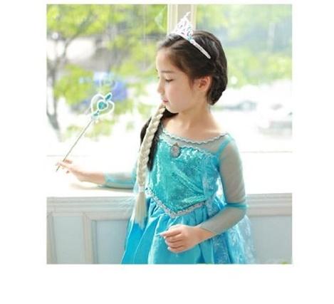 アナと雪の女王 エルサ風 ドレス Mサイズ(110cm~120cm)4点セット