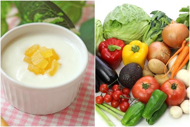 ヨーグルトと野菜
