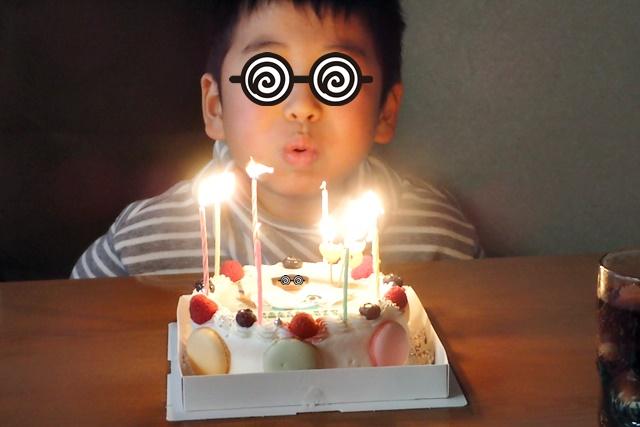 写真ケーキで誕生日祝い