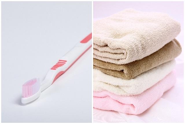 歯ブラシとバスタオル