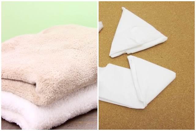 バスタオルとビニール袋