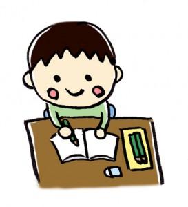 勉強をする幼稚園児