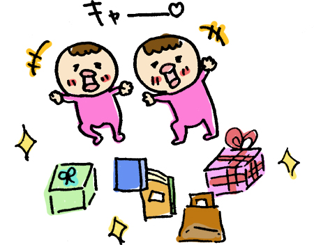 プレゼントを喜ぶ双子の赤ちゃん