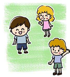 外国人との交流イベントに参加する子供