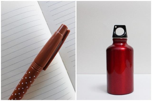 筆記用具と水筒