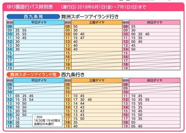 直行バスの時刻表